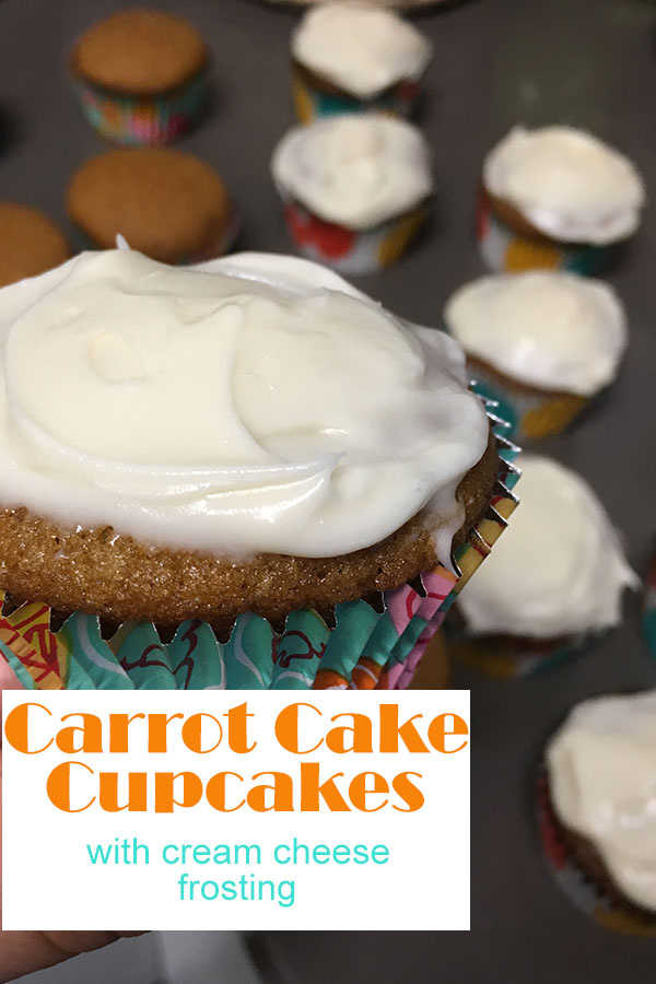 delicious carrot cake cupcakes that turn out perfect every time! love that it doesnt used shredded carrots!
