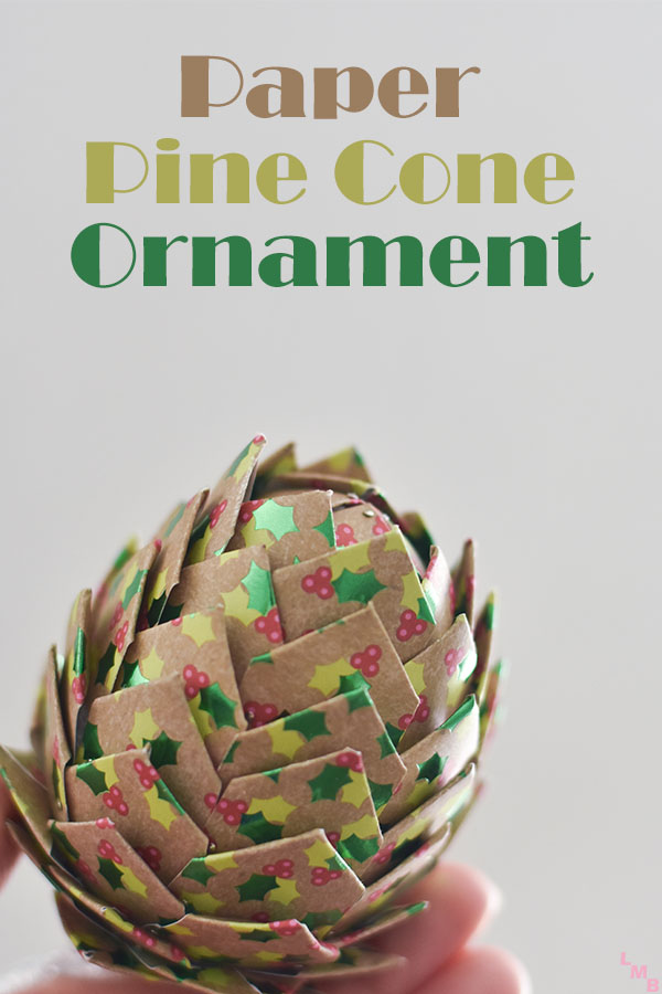Easy DIY paper pine cone Christmas ornament for cheap! It looks so complex but is really so easy & will definitely impress! Perfect for an ornament exchange! #christmas
