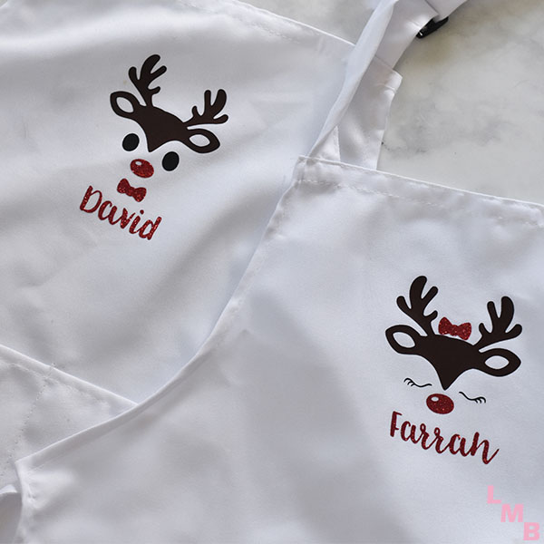 diy kids apron with reindeer